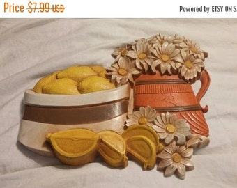 On Sale Syroco Yellow Lemon Fruit Bowl and White Daisies Wall Hanging/Home Decor