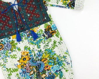 4 YEARS Heirloom kantha roll up rompers, Vintage Style Baby clothing, Boho romper, Hippie baby, Shower gift, Bohemian Baby clothing