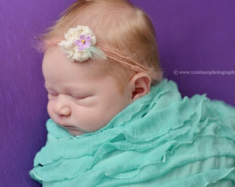 Ruffle Stretch Fabric Wrap Mint Green Newborn Photography Prop Posing Swaddle