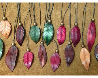 Leather leaf pendants