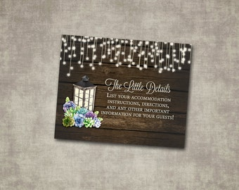 Wedding Details Insert Succulents Lantern Rustic Wood Country Barn String Fairy Lights Cream Green Digital File or Printed I customize