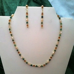 Mother-of-Pearl Amber Crystal Aventine GP Pewter necklace & earring set