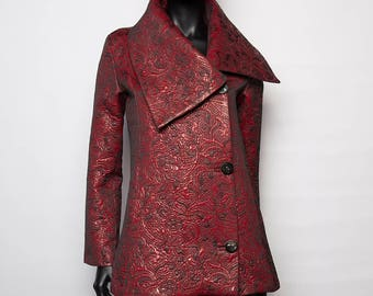 Unique / original mid-season jacket lined silk/red/casual chic creation handcrafted woman/T 38