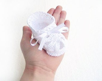 White Baby  Christening baptism  blessing baby shoes