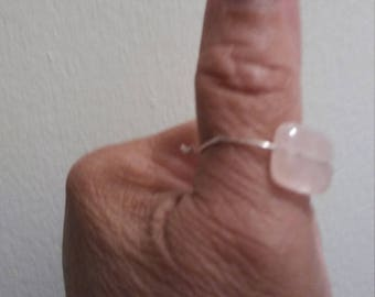 Rose Quartz and Silver Thumb Ring