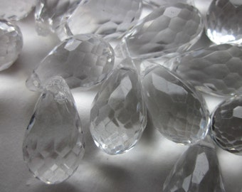 Clear Acrylic Teardrop Faceted Beads 24mm 8 Beads