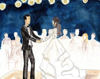 Illustrated Bridal Portrait of Bride and Groom on their Wedding Day