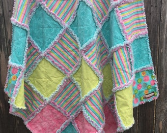 """Rag Patchwork Quilt - Handmade with Flannel of Pinks, Aqua, and Green; Aqua and Pink Minky; Baby Crib Blanket; Throw Quilt; 43"""" X 43"""";"""