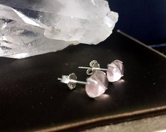 Natural Rose Quartz prong studs, 925 Silver stud earrings