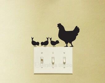 Hen and Chickens Light Switch Stickers - Animals Wall Decal - Chicks Laptop Sticker - Chicken Lover Farmhouse Decor Window Decals - Wall Art