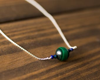 15mm Malachite, Azurite & Faceted Lapis Chain Necklace
