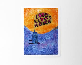 Family art Love lives here print, New home gift, Love wall decor, Love gifts Couples gift, Nursery decor, Housewarming gift, Bright wall art