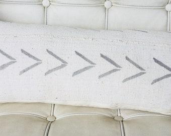 Mudcloth lumbar with grey arrows
