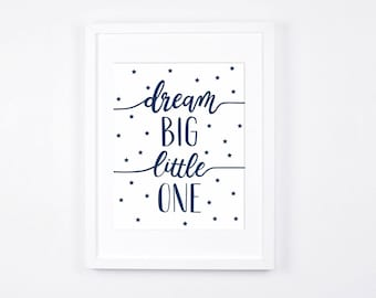 Navy Blue Nursery Decor, Dream Big Little One, Stars Printable Art, Modern Nursery Wall Art, Navy Baby Room Art, Little Boys Room Decor
