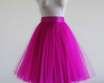 Fuchsia color tulle skirt. Tea length tulle skirt. Tulle skirt. Tutu skirt women. Woman tulle skirt. Tutu skirt for women.