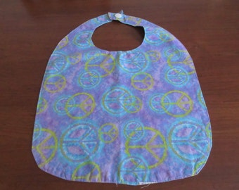 Handmade Colorful Peace Sign Adult Bib with Velcro