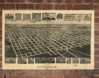 Vintage Fitzgerald Photo, Fitzgerald Map, Aerial Fitzgerald Photo, Old Fitzgerald Map, Fitzgerald Art Rend, Fitzgerald Poster, GA Art