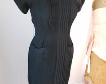 Bombshell 1940's Black Pleated Dress
