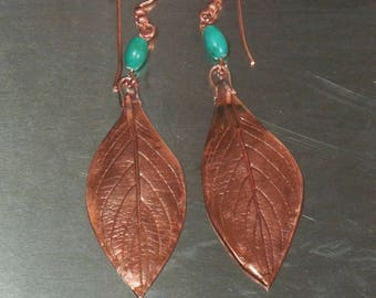 Turquoise Copper Leaf Earrings, Turquoise Tribal Earrings, Big Bold Earrings, Turquoise  Earrings, Statement Earrings,  Handmade Jewelry