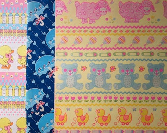 Vintage Gift Wrap, Five Full Sheets and One Partial Sheet for a Baby Shower or Wrapping Paper for Baby Gifts, Ducks, Bears, Sheep, Umbrellas