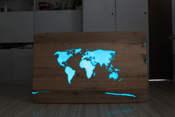 Sold dining table world map lights up in the dark solid wood gumiabroncs Choice Image