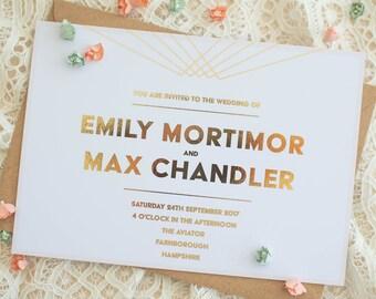 Gold Foiled Wedding Invitation - Sample