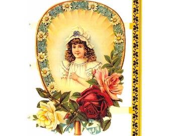 England Paper Scraps Die Cut Embossed Victorian Girl On Fancy Fan Image  A-87B