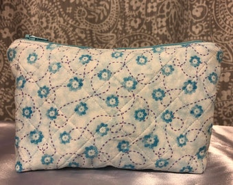 Quilted Blue Floral Zippered Pouch