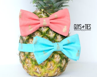 pineapple bow tie, gold metallic bow tie, aqua blue bow ties, coral bow tie, tropical bow tie, beach wedding bow tie, tropical pocket square