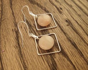Rose Quartz Silver Geometric Earrings - Rose Quartz Earrings - Silver Diamond Earrings - Minimalist - Boho - Handmade Gift