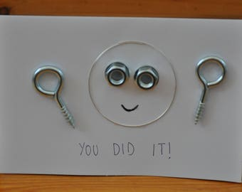 METAL SMILEY CARDS congratulations well done smiley gift quirky nuts and bolts
