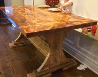Barnwood Kitchen Table   Bar Top Epoxy   Great For Kids! Nearly  Indestructible