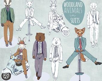 Woodland Animals in Suits ClipArt, Gentleman Bear Clip Art, Dapper Hare, Badger, Fox Hand Drawn Line Art + PNG Hipster Graphics
