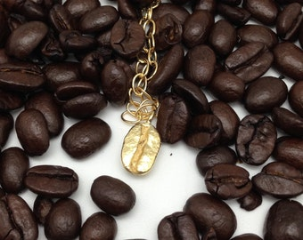 Pendant 'coffee' gold plated silver