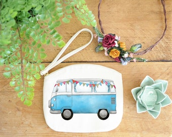 Campervan Canvas Zip Bag, Makeup Bag, Coin Purse, Small Accessory Pouch, Stocking Filler, Campervan Gift