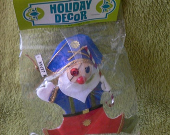 FREE SHIPPING! 1960s Vintage Holiday Decor Pirate Santa Christmas Ornament Merry Kitschmas New in Package!