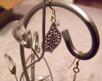 Gold plated brown filigree drop earrings