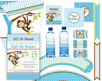 Monkey Birthday Party Kit - with invitation - 12 pcs - digital files