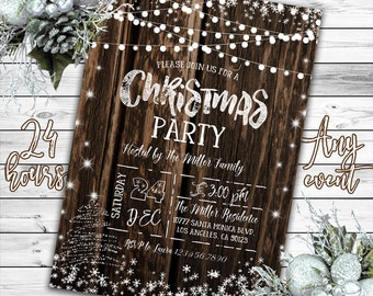 Christmas Invitation, Christmas Party Invitation, Rustic Christmas Invitation, Rustic Winter Invitation, Holiday Party Invitation, Printable