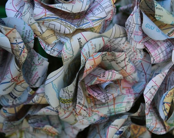 Map / Atlas roses - one dozen roses made from recycled map paper