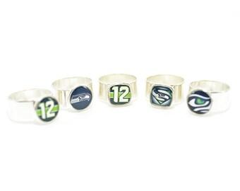Seahawks Rings | Seattle Seahawks Fan Rings | Adjustable Silver Ring | Seahawks Fan Gear