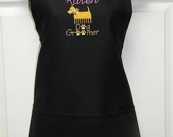 Personalized Embroidered Dog Groomer, Grooming Apron~Quality 100% USA Made-Many Colors & Denim Too!