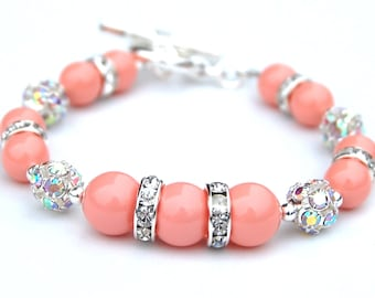 Coral Pink Pearl Bracelet, Bridesmaid Jewelry, Pastel Wedding, Gift for Her, Under 30, Pearl Lover Present