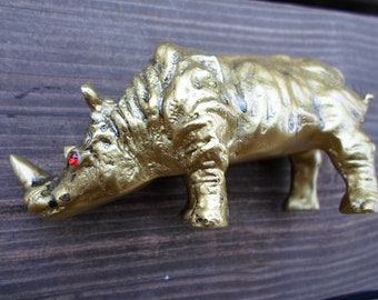 Feng Shui Golden Rhino With Red Eyes