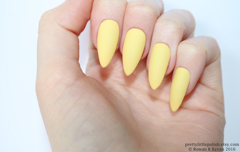 Stiletto nails Matte pastel yellow stiletto nails Fake