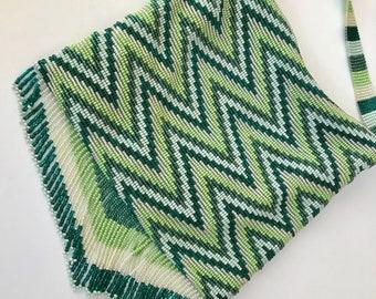 Green Beaded Chevron Crossbody Bag