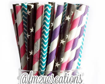 Paper Straws | Girls Roller Skate Birthday Party | Girl Rock Star Party Paper Straws | Sweet 16 Birthday Party | Pop Star Birthday Party