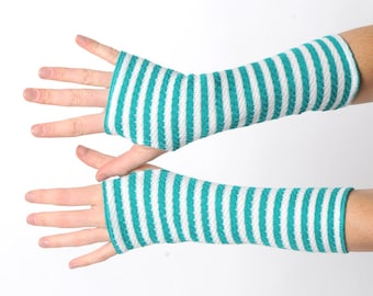 Green striped armwarmers, Pixie gloves, Long fingerless gloves vintage green and white knit, Elf helper wrist warmers, Gift for her, MALAM