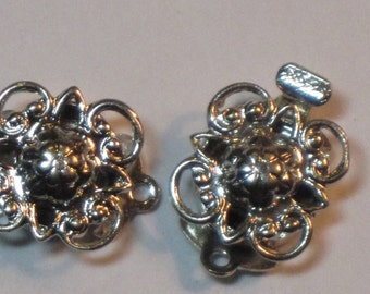 Box Clasp Filigree Silver-tone Square Czech