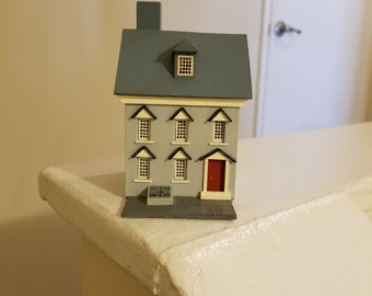 HO Scale Model Wedgewood Blue House Building with White Trim and Red Door Model Railroad Miniature Village Beautiful Miniature Home